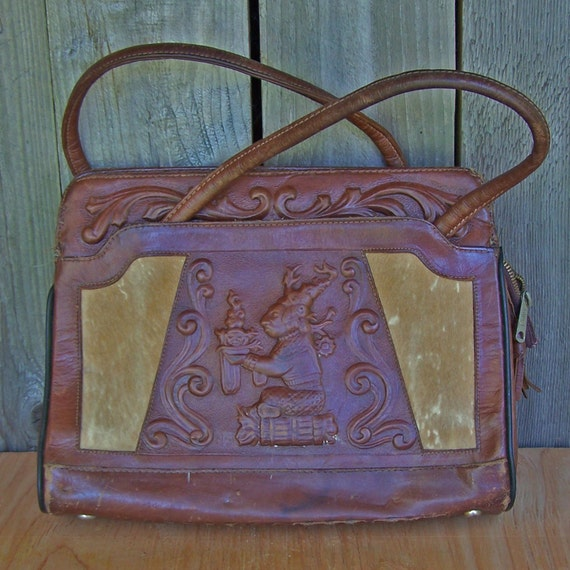 Beautiful Vintage Leather Avelar Handbag - Aztec Calendar