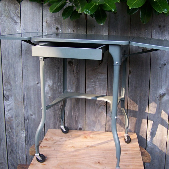 Vintage Industrial Metal Table with Extensions