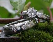 Titanium and Platinum Engagement Rings with Diamonds and White Sapphire
