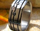 Black Diamond Titanium Wedding Band - Black Titanium Ring - Striped Ring with Diamonds - bd21