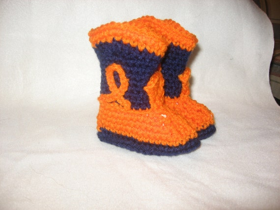 Auburn University Crochet Cowboy Booties Made to Order in Team colors