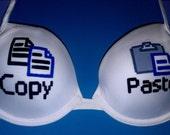 Handpainted Geeky Copy Paste Bra