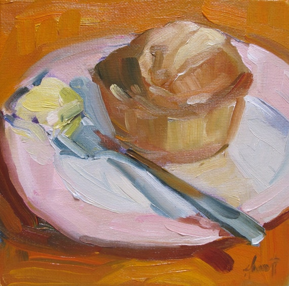 Original painting 'Butter and muffin'by Linda Hunt 6X6