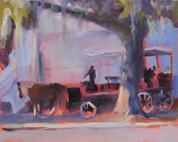 southern, abstract, oil painting, South Carolina, 'Carriage Ride' by Linda Hunt 8X10