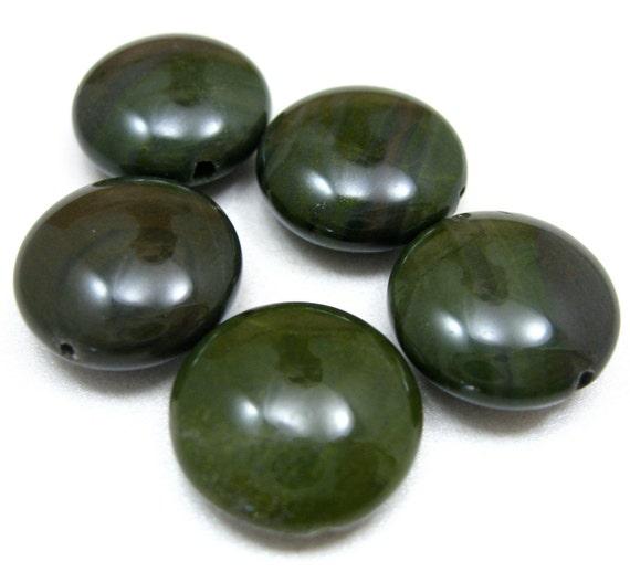 African Green Jasper Puffed Coin Beads