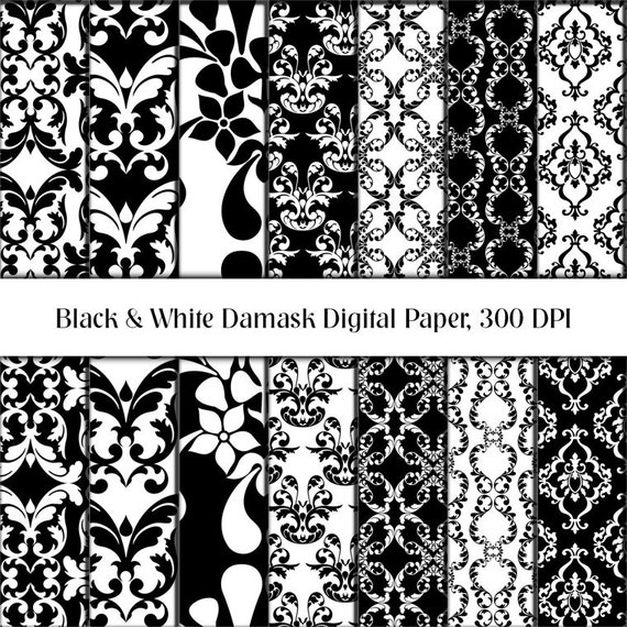 INSTANT DOWNLOAD - Black & White Damask Digital Paper Scrapbooking