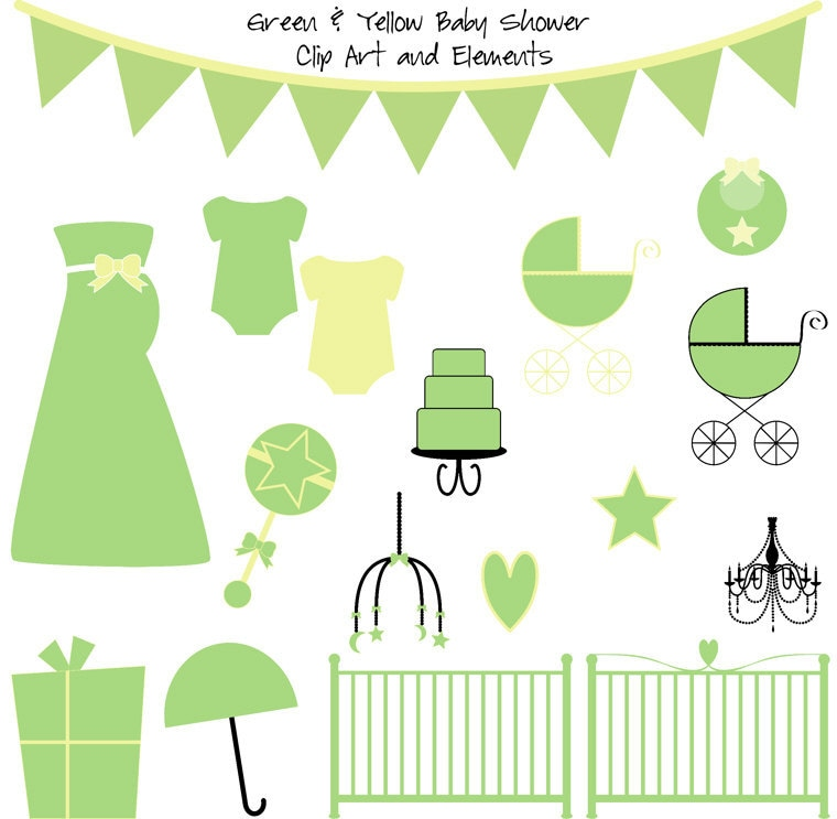 green and yellow baby shower clip art elements clipart