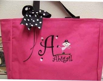 Gymnastics Tote Bag Personalized with name YOU choose color Perfect Christmas gift soccer dance twirler