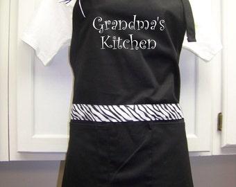 Grandma Apron Grandma's kitchen  ZEBRA  Can be personalized also