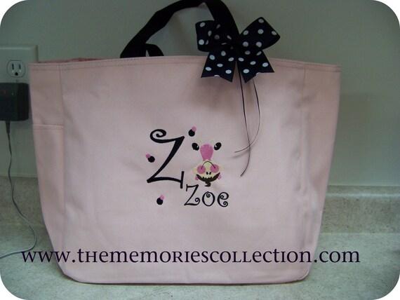 Gymnastics balance beam Personalized Tote Bag Pink all colors Ribbon Top Bow Preppy Monogram