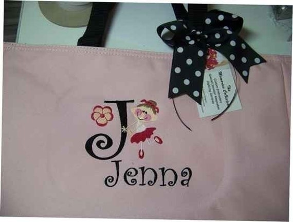Dance Ballet Personalized Tote Bag Pink all colors Ribbon Top Bow Preppy Monogram
