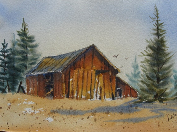 "Original Signed Watercolor Barn Art Scenic Landscape Painting JUDE-Title:""Old Fashioned Days"""