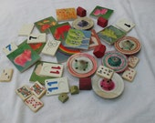 Lof of vintage wood and plastic pieces for jewelry or altered art