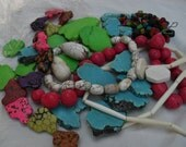 Lot of dyed howlite and tagua nut beads various shapes, sizes and colors