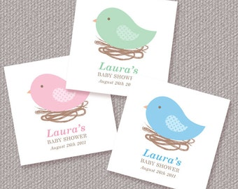 Personalized Bird Nest Baby Shower Favor Tags or Stickers – DIY Printable (Digital File)