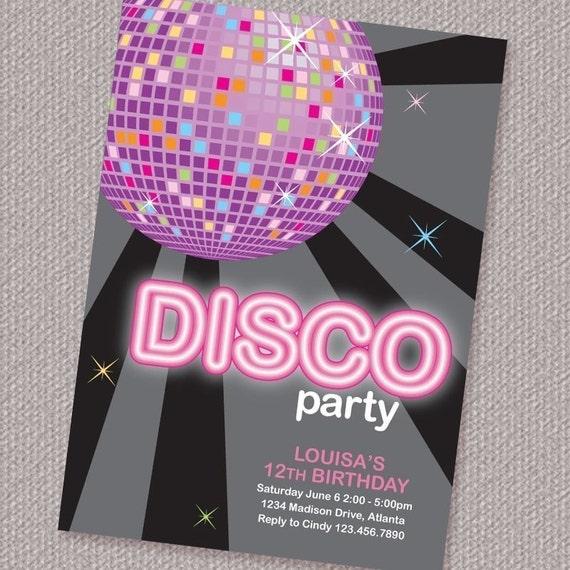 Disco Ball Birthday Party Invitation Personalized Printable (Digital File)