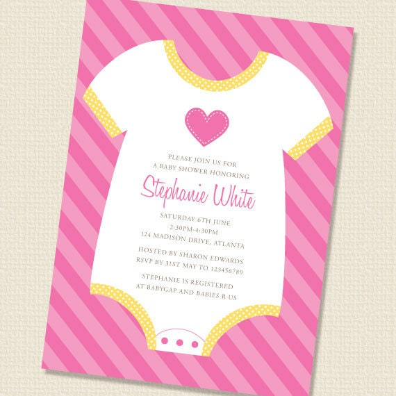 Baby Shower Invitations Wording For Boys: Items Similar To Baby Onesie Girl Baby Shower Invitation