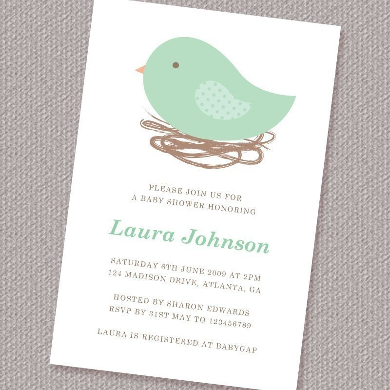 bird nest printable personalized custom baby shower invitation