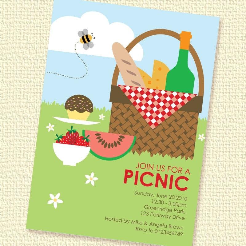 Picnic Basket Printable Custom Personalized Invitation – Picnic Invitation