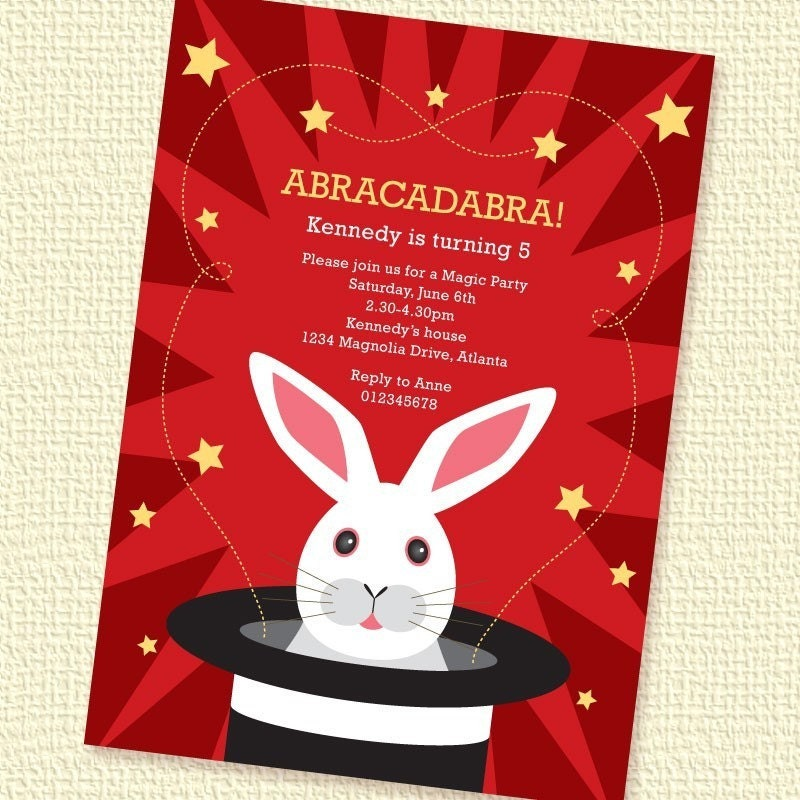 White Rabbit Magic Party Invitation Birthday By Paperspice