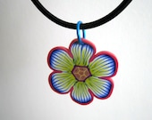 2 Polymer Flower Pendants on Necklaces -  Pay one shipping
