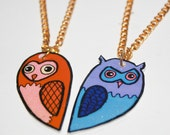 owl buddies- best friend necklace set