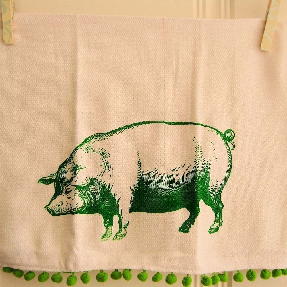Pig Kitchen Towel-Green By Ooladesigns On Etsy
