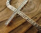Oxidized SS Sideways Cross Stretch Bracelet