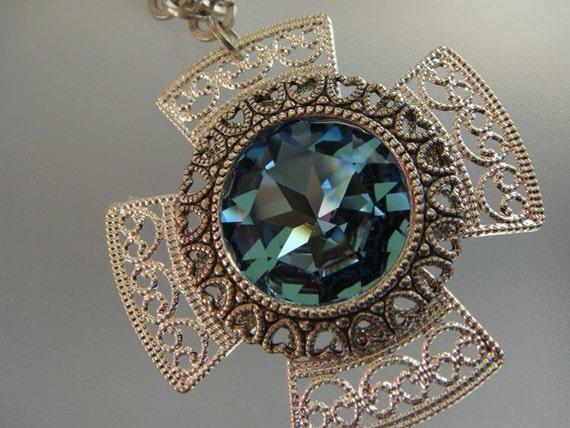 Cross with Swarovski Crystal Necklace by EmKay Designs