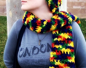 rainbow scarf with hat
