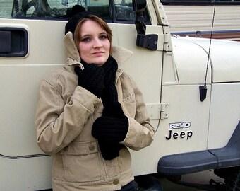 black knit winter wear set