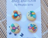 Beautiful Butterfly Bug Buttons - 1 inch fabric covered buttons - UK seller