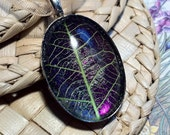 Leaf Skeleton Pendant Delicate Blackcurrant Oval - Handmade in the UK