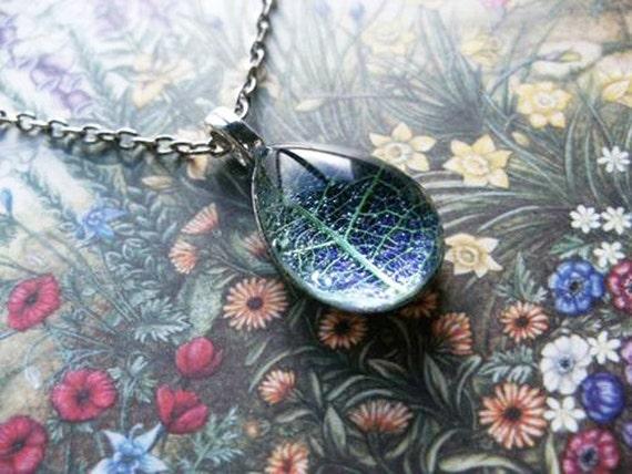 Leaf Skeleton Pendant Delicate Purple Peardrop - Handmade in the UK