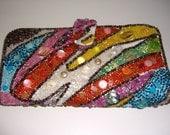 Vintage Rainbow Wallet Clutch Abstract Shells Beads Rainbow Fun