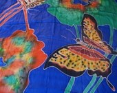Vintage BUTTERFLY silk Batik Scarf Shawl Bright Rainbow Colors