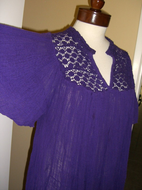 Reserved  Hippie Gauze Dress Angel Sleeve Purple 70's India Medium Large