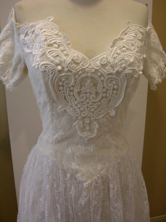 Vintage Lace Dress Scott McClintock Prom Wedding Occasion 80's Size Small