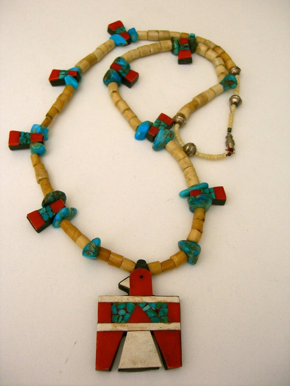 RESERVED Vintage Santo Domingo Depression Thunderbird Necklace Inlaid Native American Indian