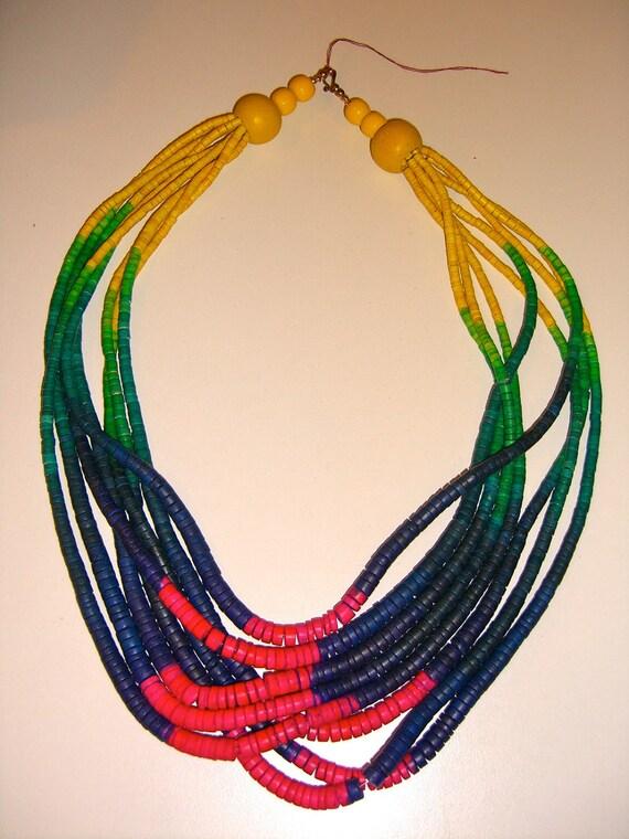Vintage Rainbow Wooden Beaded Necklace Multi Strand Ethnic