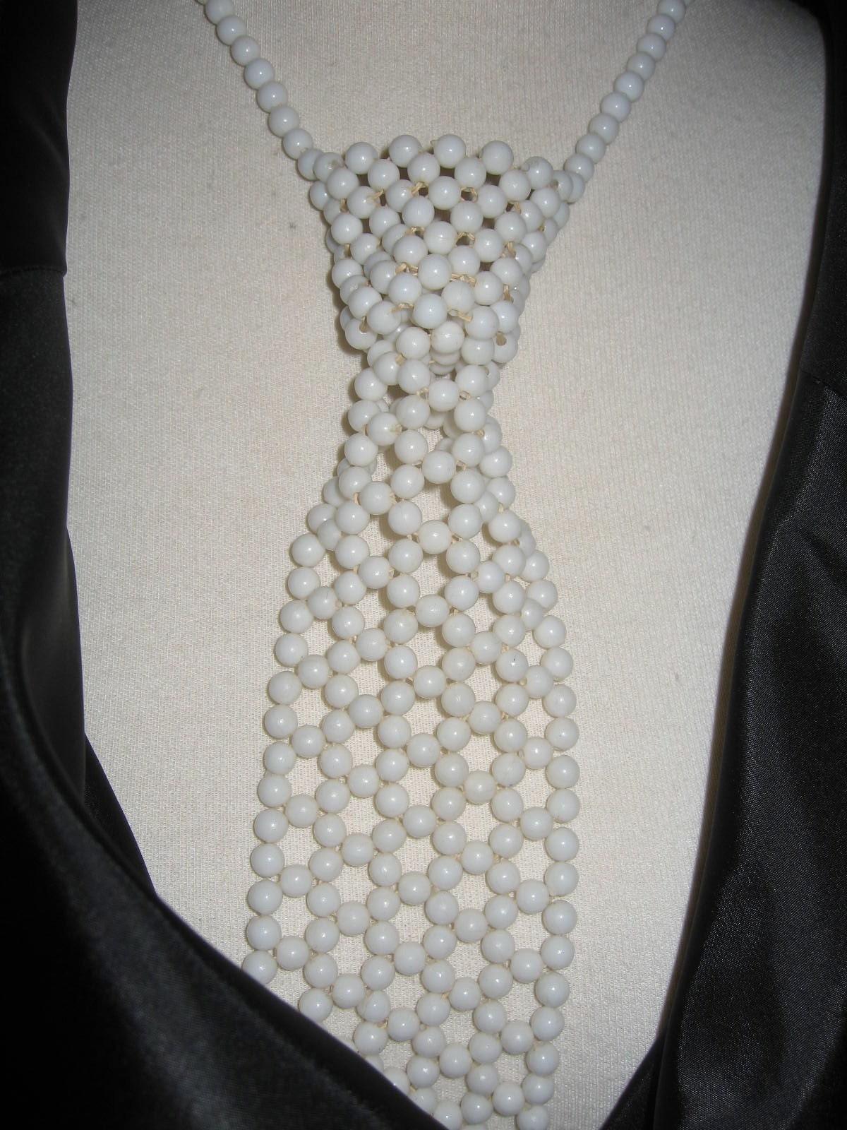 Beaded Tie Necklace Funky Fun Kitsch White Beads Tuxedo Tie