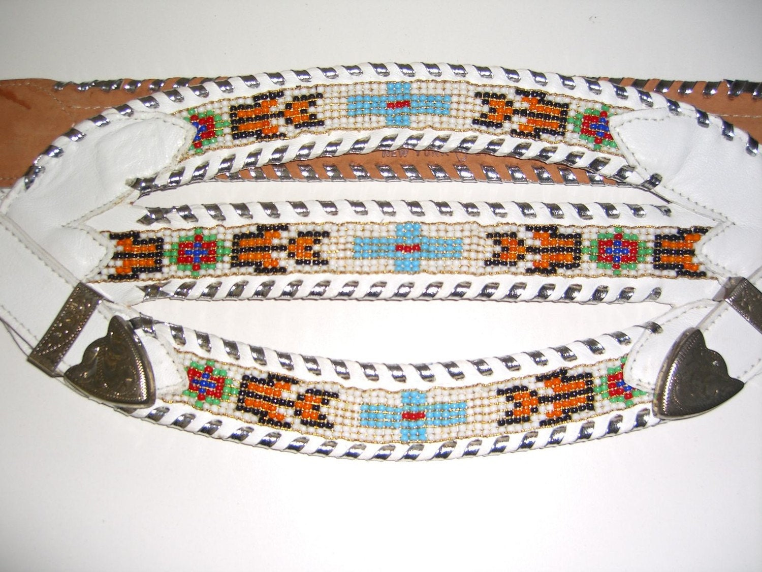 vintage indian beaded belt leather western braided by