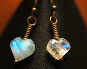 Rainbow Hearts   ---   Rainbow Moonstone Heart Earrings on Antiqued Brass