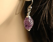 Amethyst Egg Earrings   ---   Hand Carved Amethyst Earrings