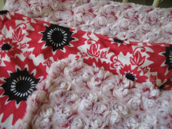 FREE SHIPPING - Angel Double Minky Blankie - Frosted Red Rose