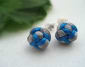 Sterling Knotted Post Earrings - Silver, Turquoise