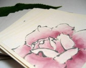 Pink Rose - 1 Handpainted Card and Envelope