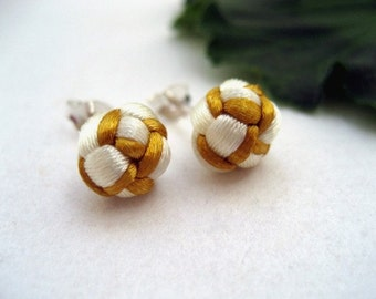 Sterling Knotted Post Earrings - Cream, Gold
