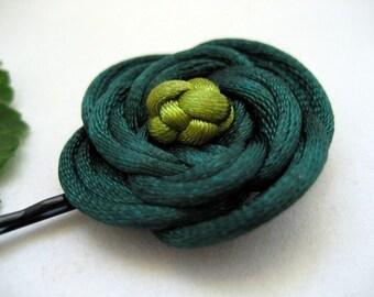 Rose Bobby Pin - Shades of Green