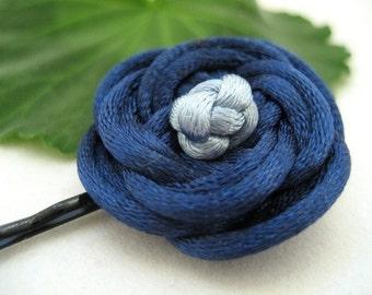 Rose Bobby Pin - Navy Blue, Light Blue